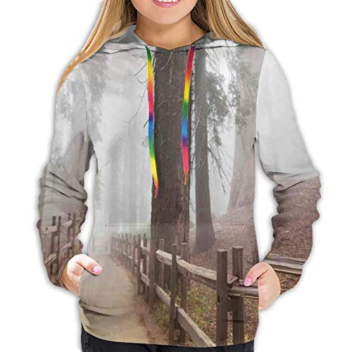 Women's Hoodies Tops,Evergreen Forest and Walkway In Sequoia National Park Foggy Morning Nature Art,Lady Fashion Casual Sweatshirt,L