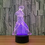 KangYD Luz nocturna 3D Anime Naruto Kakashi, lámpara de ilusión óptica LED, C - Touch Crack Blanco (7 colores), Luz de la moda, Regalo de amante, Lámpara visual