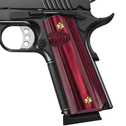 Cool Hand 1911 Full Size High Polished Dymond Wood Grips, Free Screws Included, Mag Release, Ambi Safety Cut, Brand, Cherry Bomb, H1-S-C
