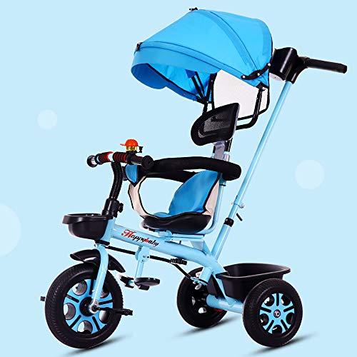 SSLC driewieler voor baby's, 4 in 1, voor kinderen + 18 maanden, draaibare zitting met afneembare kap inklapbaar, telescoopstang voor ouders, driewielers