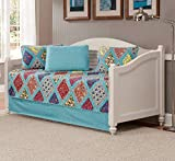 Luxury Home Collection 5 Piece Daybed Quilted Reversible Multi-Color Coverlet Bedspread Set Floral Printed Blue Red Pink Yellow Orange (Daybed)