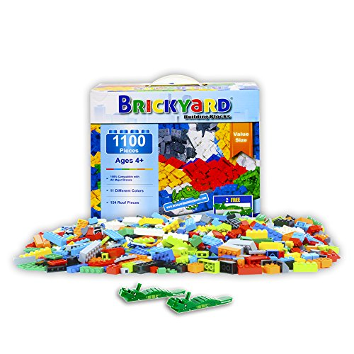 Brickyard Building Blocks 1,100 Piece Building Bricks Toy - Bulk Block Set with 154 Roof Pieces, 2 Free Brick Separators, Compatible with Lego