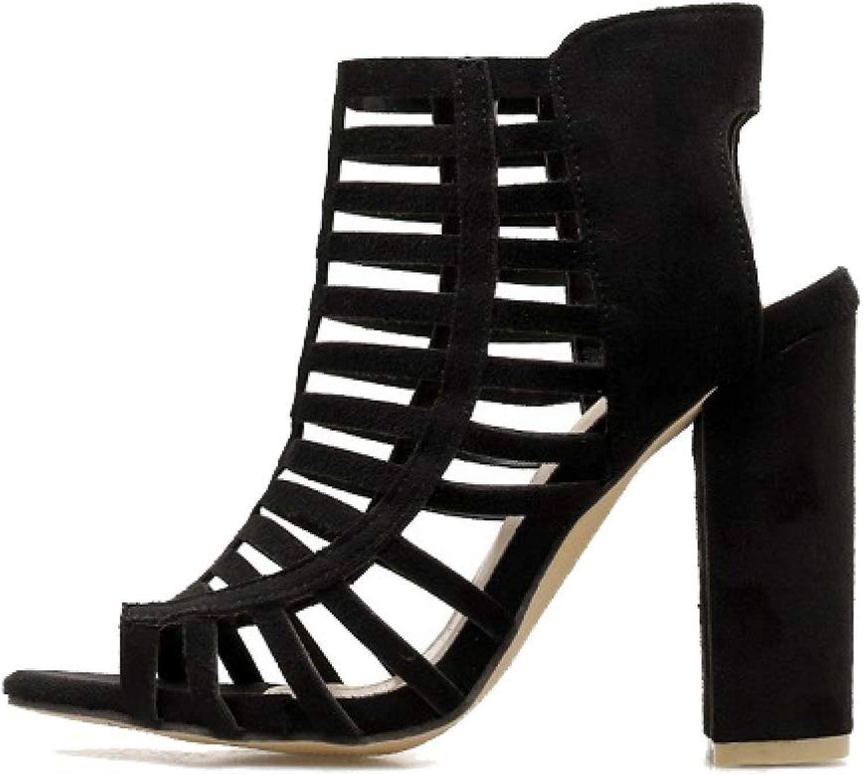 Btrada Women Block High Heel Sandal Hollow Out Peep Toe Slingbacks Fashion Ladies Party Dress shoes