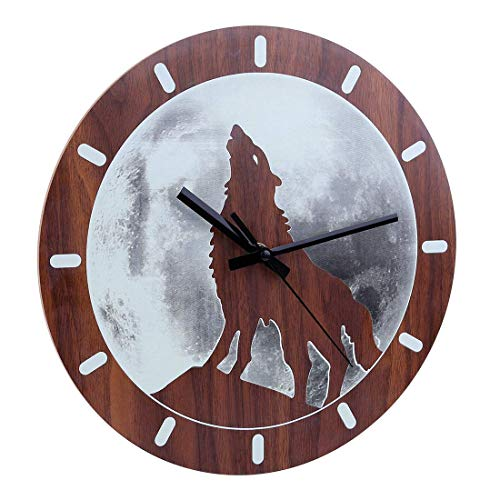 Reloj de Pared Infantil Iluminado con diseño de Animales Diámetro 30 cm, MDF, Lobo, 30x30x4cm