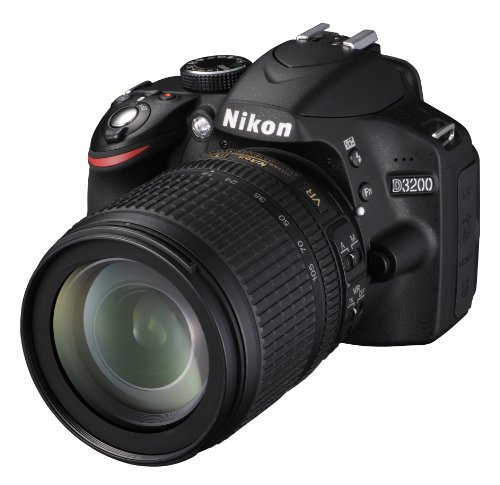 Nikon D3200 SLR-Digitalkamera (24 Megapixel, 7,4 cm (2,9 Zoll) Display, Live View, Full-HD) Kit inkl. AF-S DX 18-105 VR Objektiv schwarz