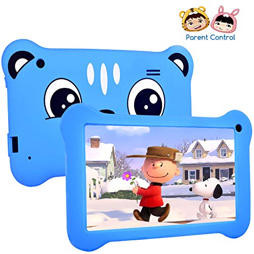 Kids Tablet, 7 Inch Android 9.0 Quad Core Tablet for Kids, 2GB + 16GB Parent Control, IPS Screen with Education Apps Games Dual Cameras, Children Tablet with WiFi Kid-Proof Case Blue (Best Tablet For Kids Games)