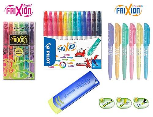 Pilot 4144S12 Fasermaler FriXion Colors, löschbar, 24-er Maxi Colors Set mit Eraser   Radierer blau