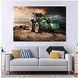 Maschine Traktor Landwirtschaft Ernte Landschaft Leinwand