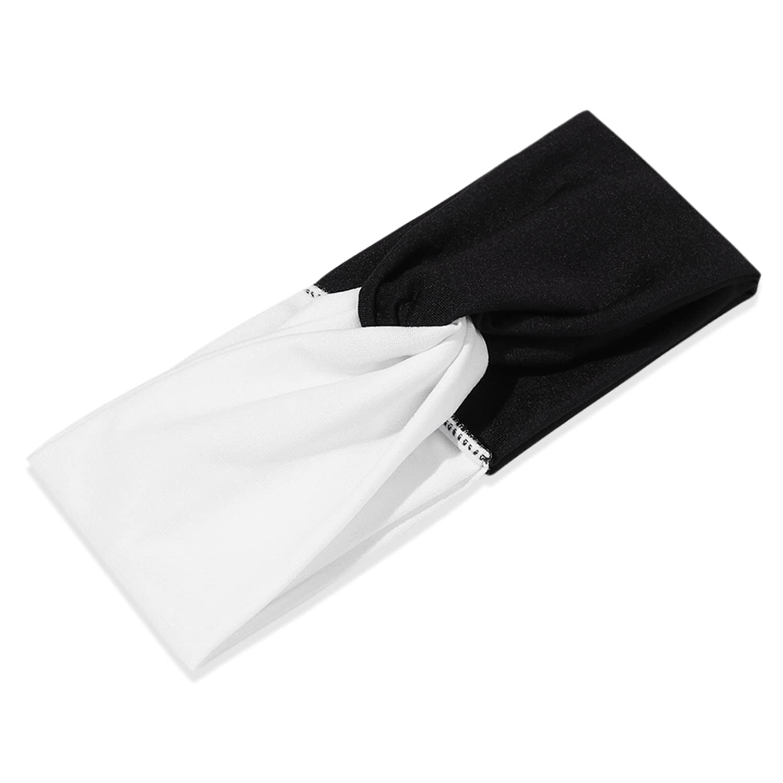 1PC Fashion Wide Headbands Women Winter Girls Contrast Color Stretch Turban Winter Soft Ear Warmer Hair Accessories white-black