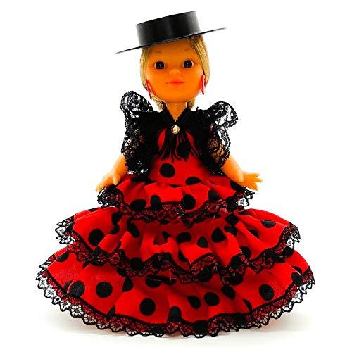Folk Artesanía Muñeca artesana de 25 cm con Vestido Andaluza o Flamenca con Sombrero Nueva y Original (Rojo Lunar Negro)