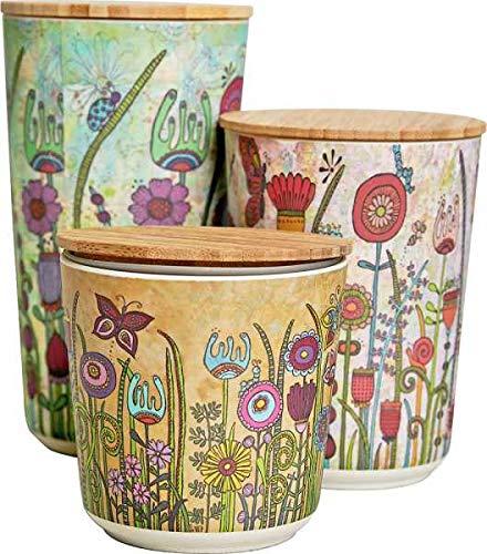 WENKO Nachhaltige Aufbewahrungsdosen mit luftdichten Deckel aus Bambus für die Küche 3-er Set