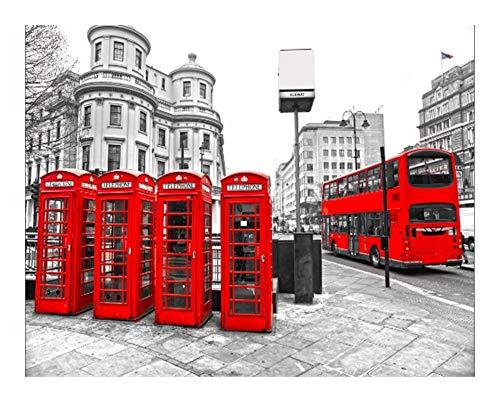 Qilo Jigsaw Puzzle 300/500/1000/1500/2000/3000/5000 Pieza Londres Blanco y Negro Puzzle - Cabina de teléfono roja, decoración del hogar, Regalos creativos (Size : 300pieces)