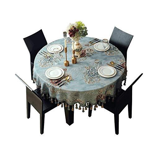Europese Doek kleine ronde tafel Household Table Mat Long Ovaal Rond een aantal kleine Vers Ronde met kwastje borduurwerk Jacquard (Size : 220cm)