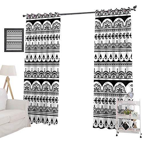 YUAZHOQI Cortinas con reducción de ruido para ventanas con hojas, flores, hiedra y remolinos inspirados en impresión de imagen, cortinas opacas para dormitorio de niños de 132 x 213 cm, blanco y negro