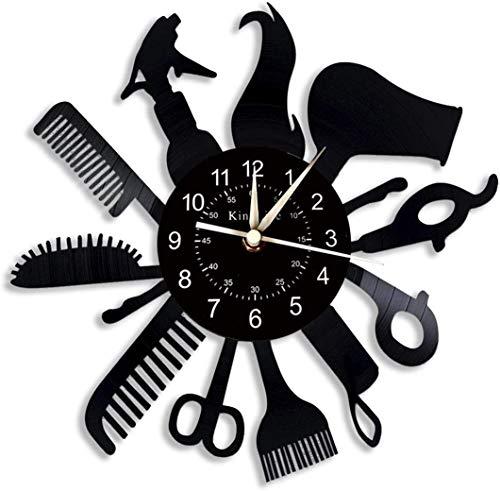 YHMJ Wall Clock 12-Zoll-Barbershop Vinyl Schallplatte Wanduhr, Retro handgemachte Friseursalon Stille Uhren für Wohnzimmer Schlafzimmer Wohnkultur, Friseur und Freunde, Barbershop ohne LED
