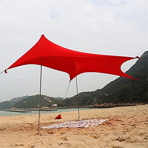 Carpa Familiar Carpa de Playa con protección UV Toldo de cabaña instantáneo Parasol Familiar Parasol para el Sol Carpa UPF50 con 2 Postes de Acero Plegables y livianos 4 Anclas para Sacos de