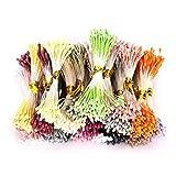 1800 Piezas de estambre de Flores, Perlas Dobles de Perlas Mate de 1 mm Estambres de Flores Mezcla de Color Pistilos de Flores Accesorios para Sombreros