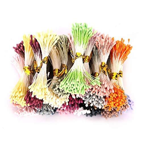 HEEPDD 1800 Pezzi Stame di Fiori, 1 mm Pistilli per Fiori Finti Accessori per Copricapo Pistilli Doppi perlati opachi staminali per Fiori Colore Misto Pistilli per Fiori (Colore Casuale da 22 Colori)