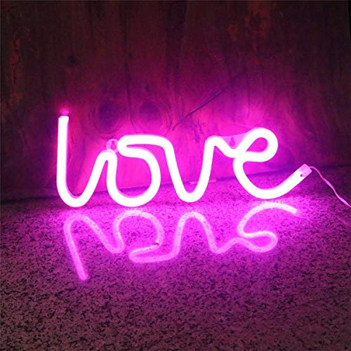 Saubhagya Global Love Neon LED Light Sign for Room Decoration Accessory, Table Decoration, Gifts, Night Light with USB (Pink)