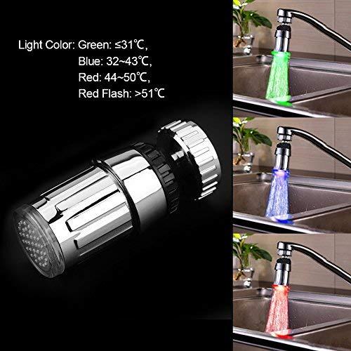 BESTONZON Rubinetto per Lavabo da Bagno a LED con Sensore di Temperatura Rubinetto a Cascata a LED con Rotazione a 360 Gradi