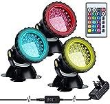 SZTC LED-Beleuchtung Gartenteichleuchte, farbwechselnde LED-Aquarienleuchte, Unterwasser-RGB-Spotlichter, Aquariumlicht mit Fernbedienung