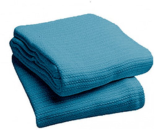 EOM Linens Cotton Hospital Thermal Blankets - Breathable and Prevent Overheating - Soft, Comfortable and Warm - Hand and Machine Washable - 1 Pack (Blue)