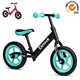 12' Balance Bike, Lightweight Aluminum Alloy Frame Kids Walking Balance Bike, No Pedal Training Bicycle with Adjustable Handlebar and Seat, for 2-6 Years Old Kids Toddlers Boys and Girls (green)