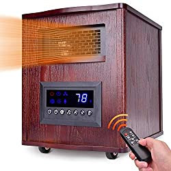 Space Heater, 1500W Electric Heater with Remote Control, 3 Heating Modes, Fan Mode, 6 Carbon Tubes, Stronger Heating Cabinet Heater, Adjustable Thermostat, 12H Timer, Overheat and Tip-Over Protection