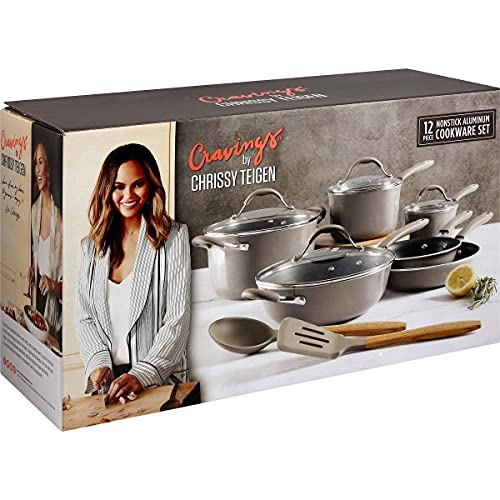 Craving by Chrissy Teigen 12 PC Enameled Aluminum Nonstick Cookware Set w/ Silicone Handle, Shadow