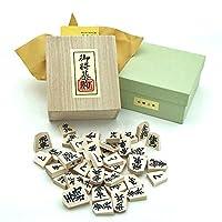 天童将棋駒 正式書体の彫駒 白椿上彫 桐箱入り