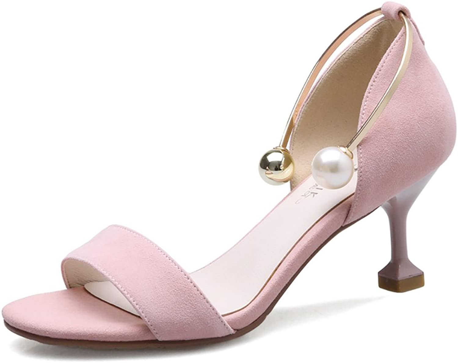 Sandals Women's Imitation Pearls Metal High Heels Ankle Straps Casual shoes ( color   Pink , Size   37 )