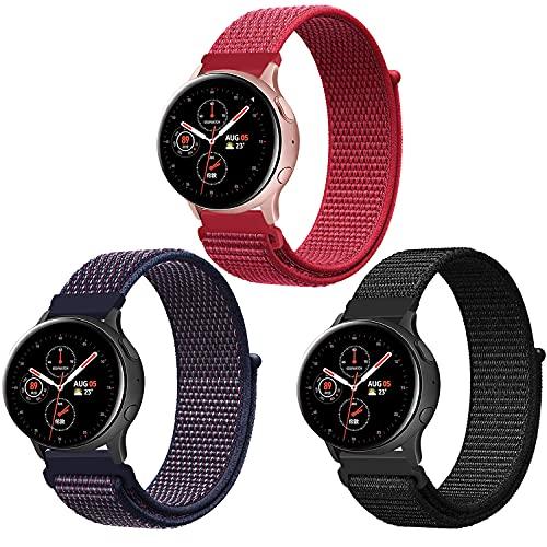 Band4u 20mm Correa Compatible con Samsung Galaxy Watch Active 2 40mm 44mm/Galaxy Watch 3 41mm, Correa de Repuesto de Nailon Deportivo Ajustable para Gear Sport/Gear S2 Classic/Garmin Vivoactive 3