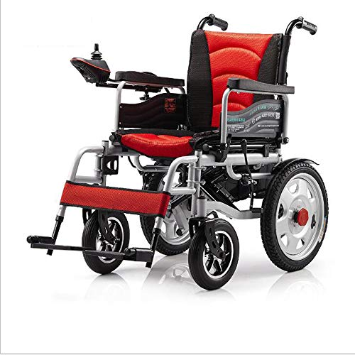 WLY Silla de Ruedas Plegable eléctrica Escalada Inteligente de baterías de Litio Scooter de 20A / 500W / 15 Millas de Viaje para la Silla de Ruedas eléctrica Ancianos/discapacitados,Rojo