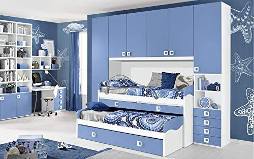 Dafne Italian Design Dormitorio completo con puente – Blanco, Avio (triple cama individual y armario) (300 x 96 x 259 cm)