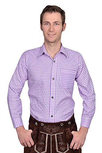 Authentic Bavarian Trachten Shirt Gingham Checkered White Purple for Leather Trousers (XL)