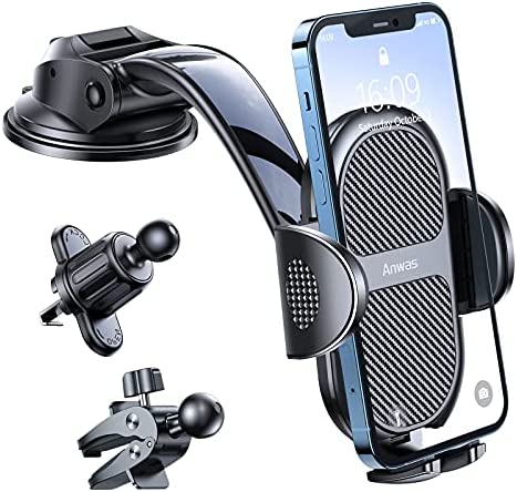 Upgraded car Phone Holder, Anwas Military-Grade Super Suction Panel Dashboard Phone Holder, [Thick Shell and Heavy Phone Friendly] car Phone Holder, Compatible with All iPhone 4.0″-7.0″ Cellphone