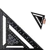 FGX 12 Pollici Righello Triangolo Speed Square Squadra Di Alluminio, Quadrato Triangolare, Goniometro Quadrato Ad Alta Precisione, Per Telaio, Tetto, Edilizia, Per Falegname Ingegnere, Metrico