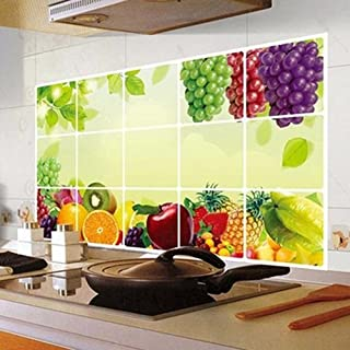 Potelin Kitchen Oilproof Removable Grape Pattern Vine Wall Sticker Art Decor Home Decal Durable and Useful