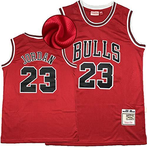 Jordan Bulls # 23 - Camiseta de baloncesto para hombre, 1997-98, diseño de leyenda, chaleco de malla bordado retro para hombre Pay Tribute to Idol - Hardwood Classic red-S