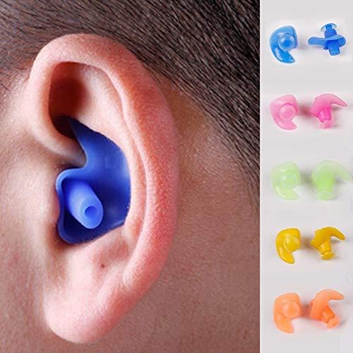 Haloku Surf Natación Auriculares, Impermeable Par Piscina 1 Accesorios, Silicona Suave Natación Impermeable Tapón para los Oídos Parte Delantera Clip Natación Intrauricular - Naranja