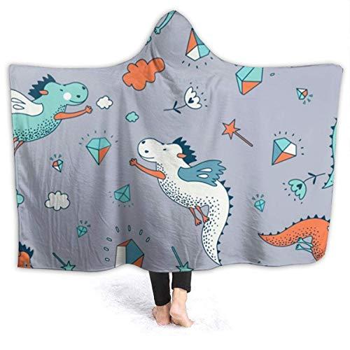 Eileen Powell Kinder Jugend Cartoon lustige Tier Dinosaurier Muster Kapuze Decken für außen bessere Qualität Umhang Schal Wrap für Kindertagesstätte 60x50 Zoll