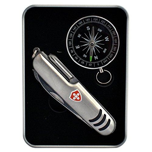 HAC24 11in1 Taschenmesser & Kompass Taschen Messer Taschenkompass