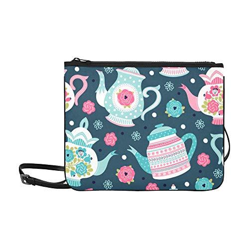 Fashion Bag Elegant Retro Art Tea Set Teapot Cup Adjustable Shoulder Strap Shoulder Handbags For Women Girls Ladies Cross Bag Clutch Best Handbag