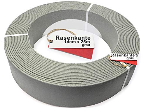 Rakaflex Stabile Rasenkante Beetumrandung Beeteinfassung Mähkante Profilkante (ca. 14 cm hoch x 25 m lang, grau)