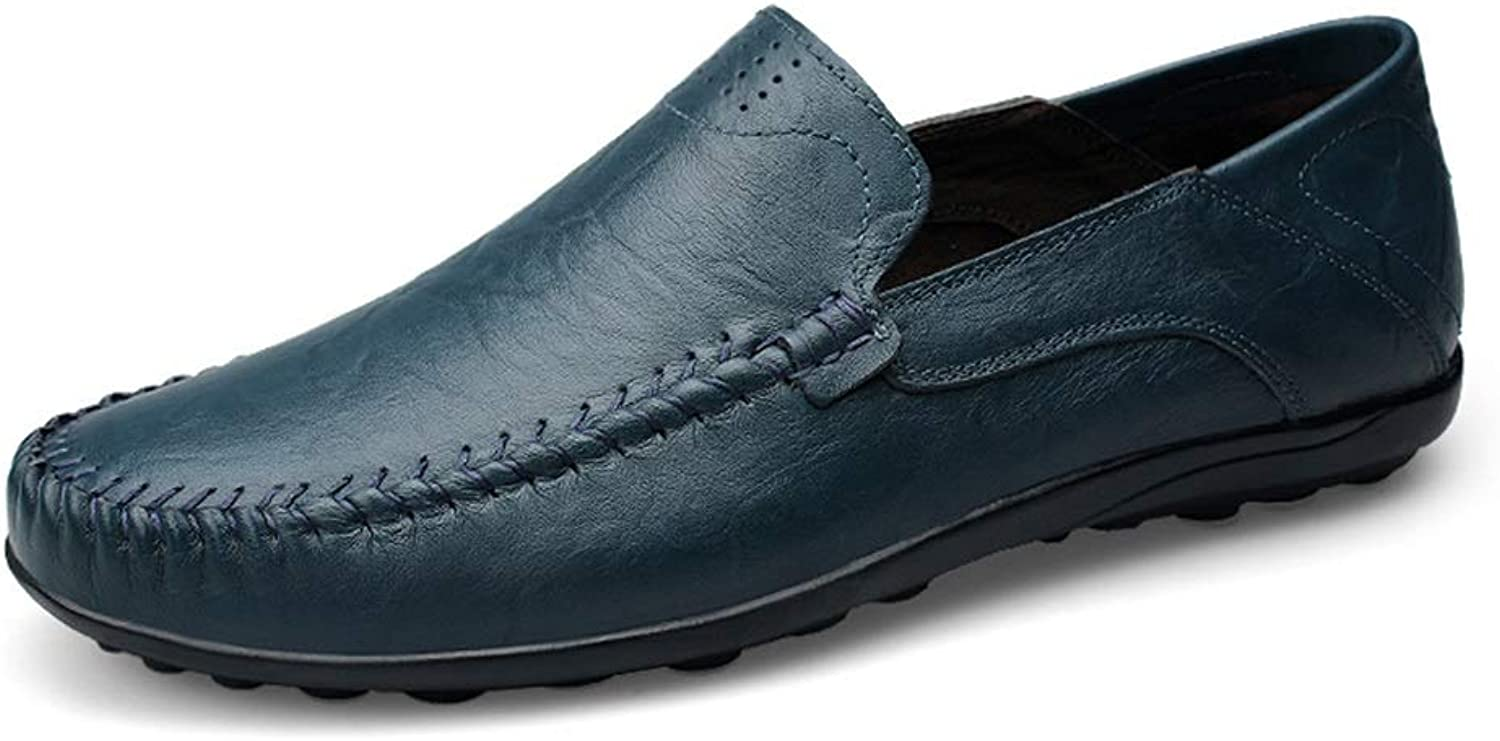 Men's Casual shoes Casual Solid color Soft and Light Boat Moccasins (color   bluee, Size   10.5 D(M) US)