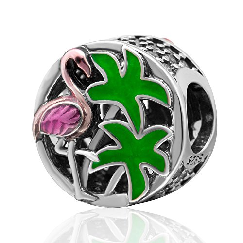 Flamingo bedeltje 925 sterling zilver Plam bedeltje vogelbedeltje bedeltje voor Pandora bedelarmband A