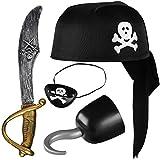 Balinco Piratenset 4-teilig für Kinder bestehend aus Schwarzem Piratenhut + Säbel + Augenklappe + Piratenhaken - Kostüm Set für Fasching / Karneval