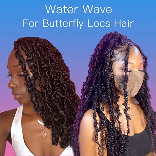 24 Inch Natural Black Passion Twist Hair 7 Packs Goddess Water Wave Crochet Braids Hair for Butterfly Locs Crochet Hair Passion Twist Synthetic Braiding Hair Extensions for Woman (24 Inch,1B#)