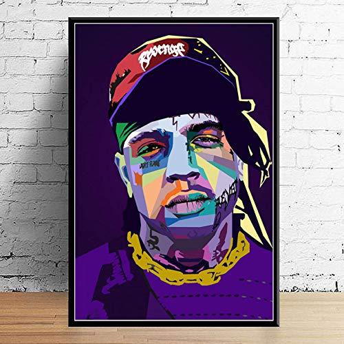 GaoDashan Art Decor Wrld J Cole Post Malone Mac Miller Travis Scoot Rapper Star Hip Hop Arte de la Pared Carteles para el hogar Pintura en Lienzo 50x70 cm (19.68x27.55 in) A-649