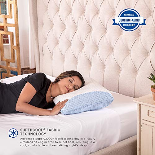 SensorPEDIC Supercool Gel-Infused Memory Foam Bed Pillow, Oversized, White